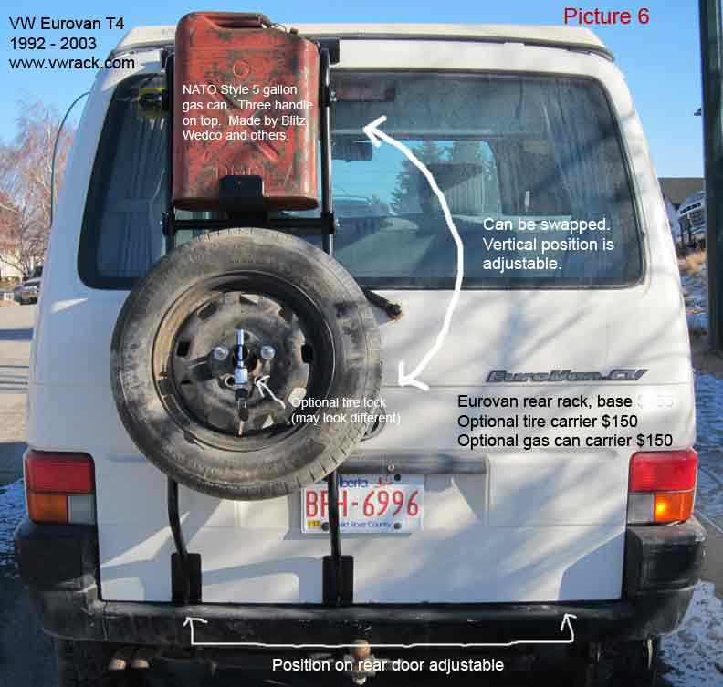 VW Volkswagen Eurovan T4 tire carrier gas can carrier