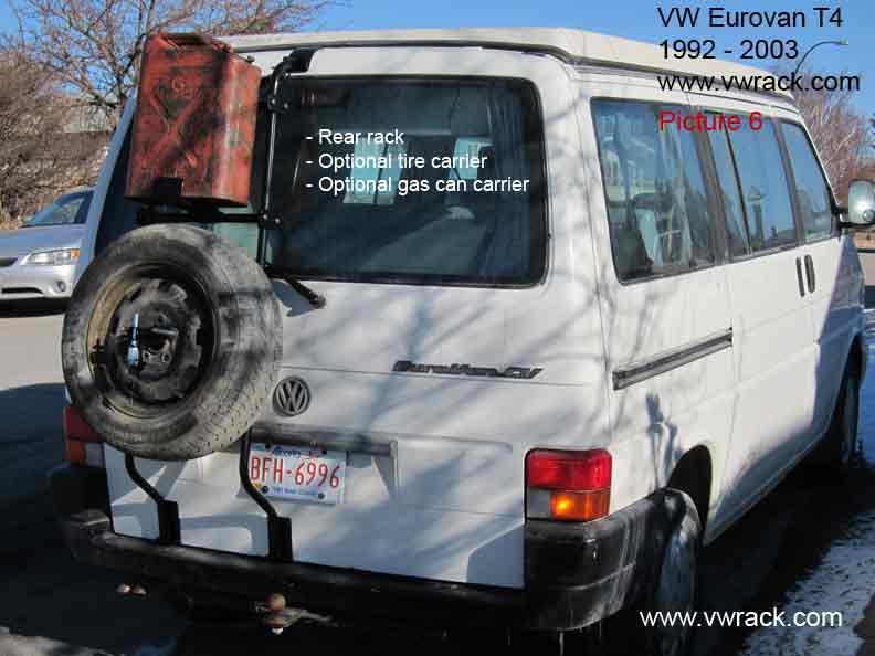 VW Eurovan Tire carrier, Gas can carrier